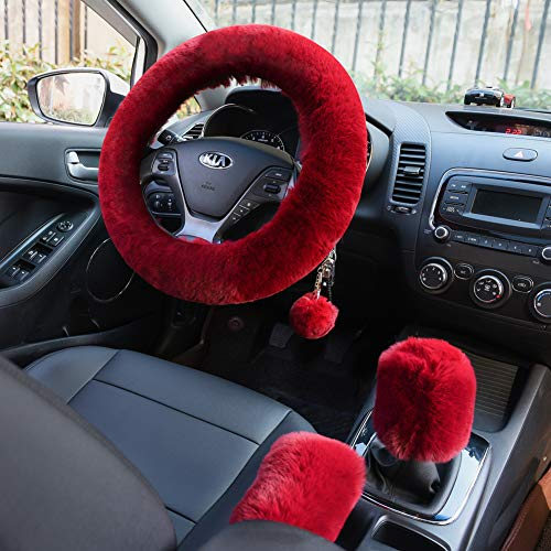 Valleycomfy 4PCS Set Fluffy Steering Wheel Cover with Handbrake Cover & Gear Shift Cover Fuzzy Steering Wheel Cover for Women Plush Car Wheel Cover Universal Fit 15 Inch Wine Red