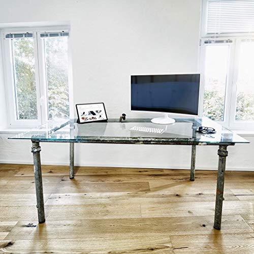 INDULOU Glastisch aus Baugerüst im Industrial Design Individueller Schreibtisch, Esstisch Konferenztisch 170x90 cm / 300x100 cm (170 x 90 cm)