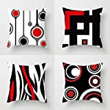 ROMAHOME Black and Red Throw Pillow Covers Geometric Curved Line Polka Dot Abstract Art Simple Modern Hotel White Backgroud Farmhouse Decorative Home Decor Square Cushion Cover 18 x 18 Inches 4 Pack