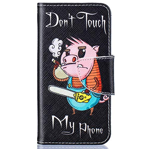 kompatibel mit Huawei Y5 II Hülle,Huawei Y6 II Compact Lederhülle,Huawei Y6 II Compact Tasche Leder Flip Hülle Brieftasche,Gelmat Muster Handyhülle Schutzhülle für Huawei Y5 II (Don't Touch My Phone)