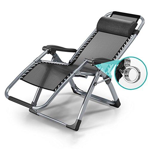 Zcxbhd Pliant Lit Unique Sieste Chaise Confort Coton Pad+Respirant Engrener Plier Chaise Fauteuils Inclinables Canapé Convient À Femme Enceinte/Bureau/plein Air Attendez Région (Noir)