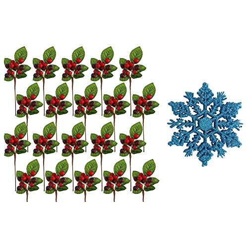 Cobeky 20 Branches with 240 Pieces Fake Holly Berries Decoration & 24Pcs Snowflake Ornaments Glitter Snowflakes Hanging Crafts