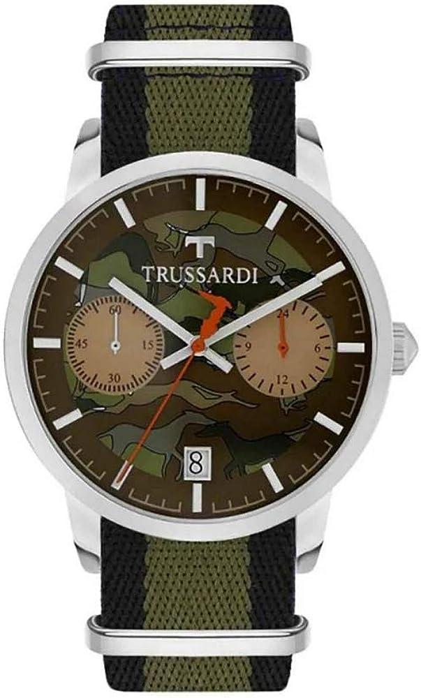 Trussardi, orologio uomo, collezione t-genus,cronografo, con cinturino in tessuto e cassa in acciaio R2471613003