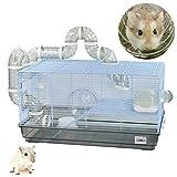 DZL-Jaula Hámster Chalé con Escalera jaulas Hamsters Grandes con Tubos Rueda para Ejercicio Color Aleatorio (L 31.5 * 58 * 32CM)
