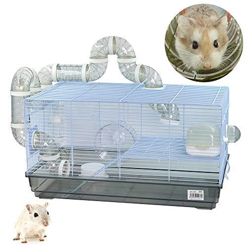 DZL-Jaula Hámster Chalé con Escalera jaulas Hamsters Grandes con Tubos Rueda para...