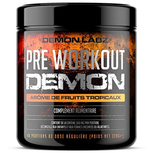Pre Workout Demon (Arome de fruits Tropicaux) – Complément puissant pré-entrainement avec créatine, caféine, bêta-alanine et glutamine (320 grammes, 40 portions)