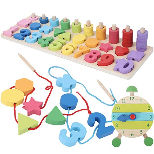 Montessori Fine Motor Skill Toys - Math Wooden Number Shape Set with Learning Clock and Lacing Beads Montessori Toy for Toddlers 3 4 5 Year Old Preschool Learning Toys, Sorting Stacking Counting