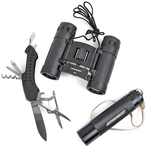 Survival-Kit outdoorkit afstandsbediening glas 8x21 zakmes LED zaklamp buiten noodgevallen