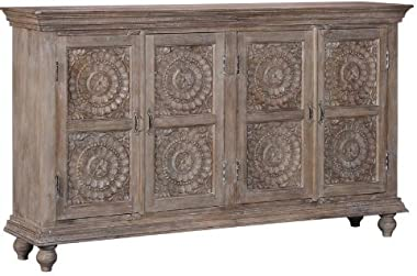 Shilpi Traditional Carving Wardrobe Sheesham & Solid Wood Cabinet in White Distress Finishing