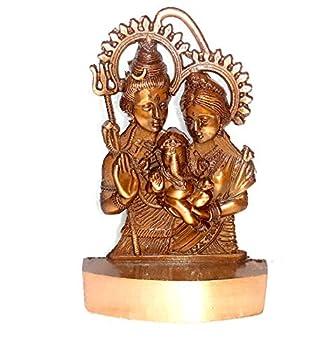 Shiva Parvati Ganesh Idol Shiv Parivar Murti Statue Sculpture - Hindu Lord Shiva Idols Family Sitting On Nandi Showpiece Figurine for Home Office Temple Mandir Decoration