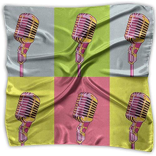 Multi-Colors Design Square Satin Womens Neck Head Bufanda Bufandas Colorido Micrófono Cool