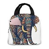 Bolsa de almuerzo con aislamiento de elefante adornado, bolsa de asas para refrigerador de gran capacidad para el trabajo de oficina de la escuela de picnic al aire libre, organizador de lonchera por