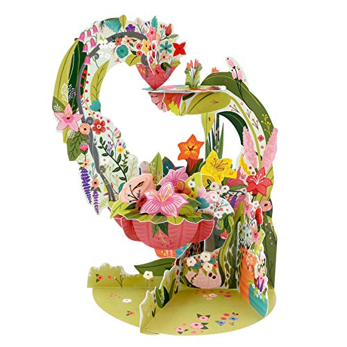 Pendulum Card, 3D Pop Up Greeting Card - Floral Hanging Basket - for Her, for Mum, Birthday, Mothers Day