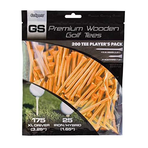 GoSports Tour Tee Premium Wooden Golf Tees   200 XL Tee Player's Pack Driver and Iron/Hybrid Tees, Orange (GOLF-TEES-W-DXL-01-ORANGE)