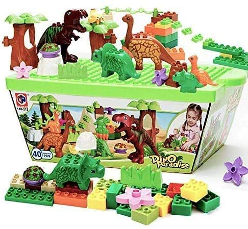 HYLL 40 Pcs Dinosaur Blocks Toy Building Blocks Plastic Kids Toys Jurassic Construction Toys, Entertaining And Educational Blocks Toys Set For Boys & Girls Ages 3-12 Years Old