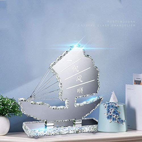 LTAYZ Lámpara Escritorio Elegante lámpara de Mesa de Cristal Plateado, lámpara de Noche LED para Dormitorio, lámpara de Mesa de Cristal K9 y Acero Inoxidable Pulido de Estilo Moderno,