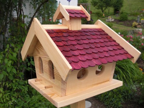 Vogelhaus Vogelhäuser-(V10)-Vogelfutterhaus Vogelhäuschen-aus Holz-DHL-XXL Rot