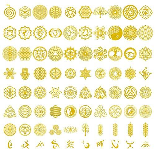 80 pegatinas de orgonita geométrica de cobre sagrada con flores y árbol de la vida, para bricolaje, pirámide de energía, material de resina epoxi