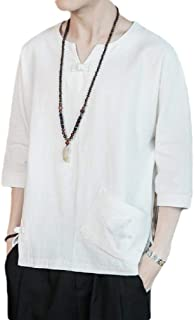 Energy Men's Plus Size Linen Chinese Style Embroidered Tees Pullover Top White XL