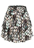 Styleboom Fashion Damen Mini Stufenrock Blätter Print schwarz Multicolor
