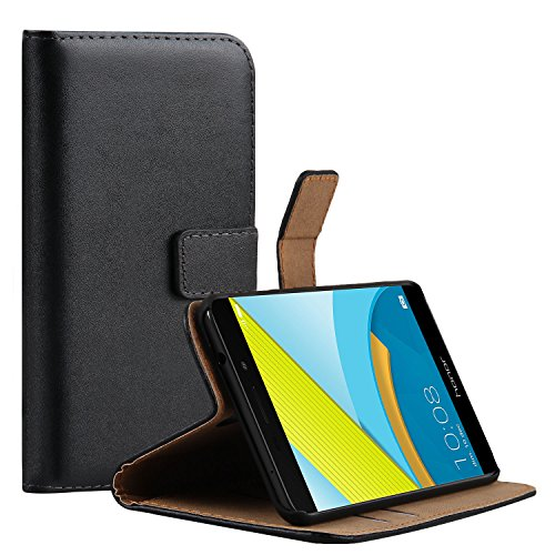 Ambaiyi Genuine Pelle Portafoglio Custodia Flip Case Cover per Huawei Honor 6C Pro , Honor 6C Pro Cover , Nero