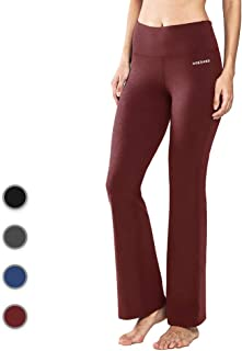 Ogeenier Power Flex Cotton Boot Cut Yoga Pants Workout Running Stretch Bootleg Yoga Pants with Inner Pocket