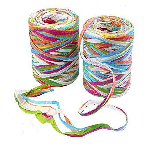 2 rollos cinta de Rafia de color de 80 m de papel de rafia cintas de cinta de embalaje de hilo de embalaje para envolver regalos de navidad, decoración de arte de bricolaje