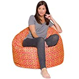 Posh Creations Big Comfy Bean Bag Posh Large Beanbag Chairs with Removable Cover for Kids, Teens and Adults Polyester Cloth Puff Sack Lounger Furniture for All Ages, 48in Extra, Scrolls Red and Yellow