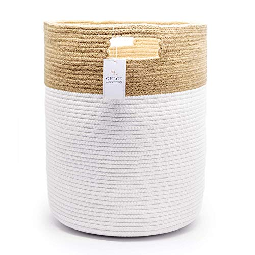 Chloe and Cotton Extra Large Tall Woven Rope Storage Basket 19 x 16 inch Jute White Handles | Decorative Laundry Clothes Hamper, Blanket, Towel, Baby Nursery Diaper, Toy Bin Cute Collapsible Organizer