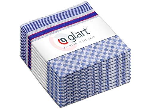 Glart 48GR 10-delige set premium handdoeken, theedoeken, 100% katoen OEKO-TEX, 45x90 cm, blauw, voorwas