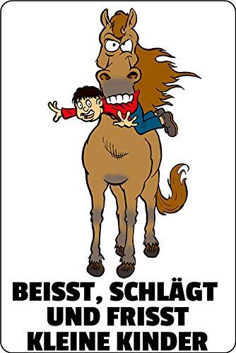 Metalen bord bijst slaat en frisst kleine kinderen paard waarschuwingsbord