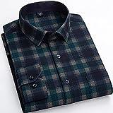 Camisas Hombre Manga Larga,Camisa A Cuadros De Manga Larga Camisas Casuales De Algodón Verde Oscuro A Cuadros Clásicos Vintage con Bolsillo Botones con Botones Padre Novio,