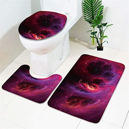 IRCATH Rojo Misterioso Espacio Nebulosa patrón Espesado Esponja Suave elástico Almohadilla de baño Tres Piezas-C7 Suave cálido Hermoso Antideslizante