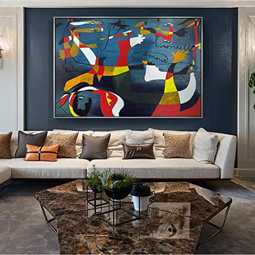 Lienzo Arte de la pared Joan Miro Reproducciones de pinturas famosas El nacimiento del mundo Carteles e impresiones artísticos Imágenes de arte abstracto para sala de estar-70x100cm Sin marco