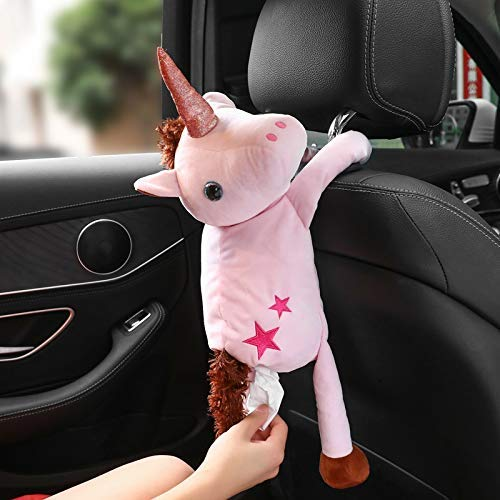 Starmood Cartoon Gewebe Kiste Süß Auto Papier Handtücher Wandbehang Papier Handtuch Tasche Auto Innenraum Produkte - Pink Einhorn