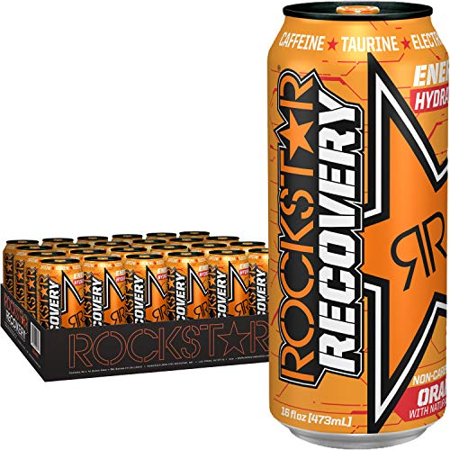 Rockstar Energy Drink, Orange Recovery, 16 Fl Oz (Pack of 24)