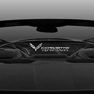 For 2014-2019 C7 Coupe Corvette Racing Flag ETCHING Wind Deflector Blocker