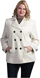 Lee Cobb Women's Premium Faux Wool Plus Size Pea Coat Off White Color