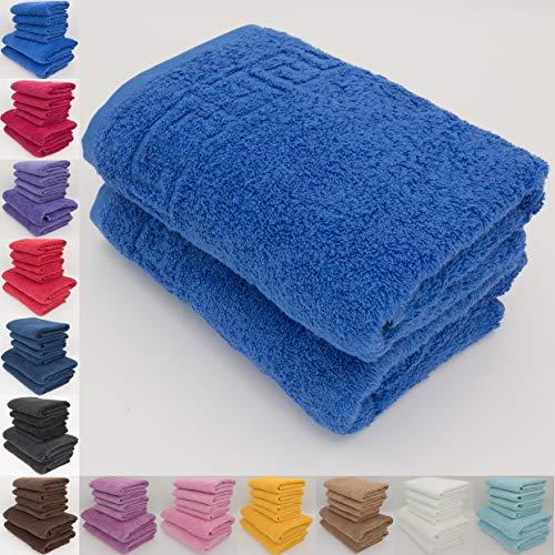 Handtuch-Set, 100 % natürliche Baumwolle, 500 g/m², saugfähig, Hotelqualität, ringgesponnen, 70 x 140 cm Badetücher und 50 x 90 Handtücher, baumwolle, blau (classic blue), 2 x Hand Towels (50x90 cm)