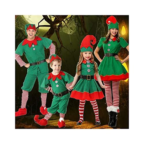 ABCSS Disfraces de actuación navideña para niños Niños y niñas Elfos Visten Ropa Infantil Disfraces de Padres e Hijos