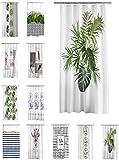 one-home Duschvorhang 180x200 cm wasserabweisend Badewannen Vorhang inklusive 12 Ringe, Farbe:Palmen Blätter