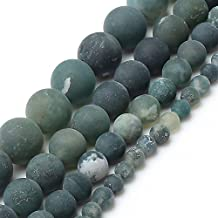 Love Beads Matte Green Moss Agate Beads 8 mm Round Loose Jewelry Making