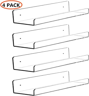 CY craft Clear Acrylic Floating Shelves Display Ledge, 5 MM Thick Wall Mounted Storage Shelf for Kitchen/Bathroom/Office,Invisible Kids Bookshelf and Spice Rack,15 Inch,Set of 4