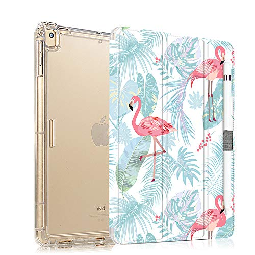 iPad 9.7 Case 2018/2017 Slim Lightweight Case for iPad 9.7 5th /6th Generation, Protective Shockproof Case for iPad air 2 / iPad air, iPad 9.7 inch Case Cover with Pencil Holder - Flamingo
