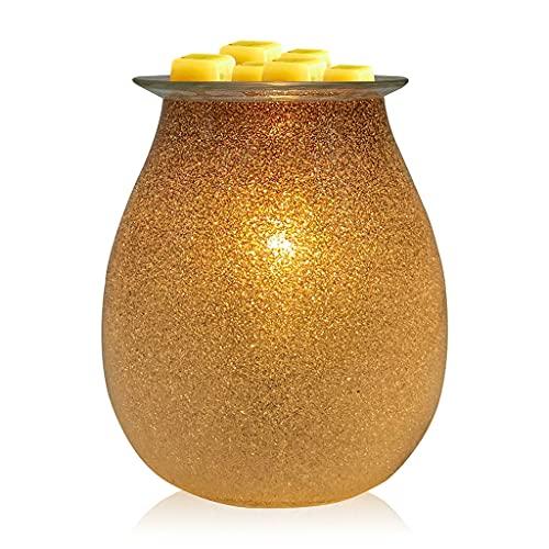 JDKC- Vidrio de Arte Dorado Calentador de Fusión de Cera, Calentador de Aceite Esencial Perfumado, Quemador de Tarta para Cera Derretida, Lámpara de Luz Nocturna con Vela de Fragancia