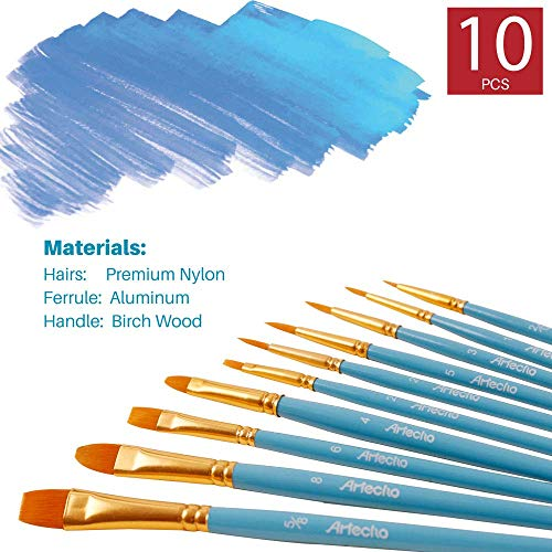 Artecho Miniature Paint Brushes Set, Detail Art Brushes for All Levels and Purpose Watercolor Oil Acrylic Gouache Painting, Premium Nylon Hairs