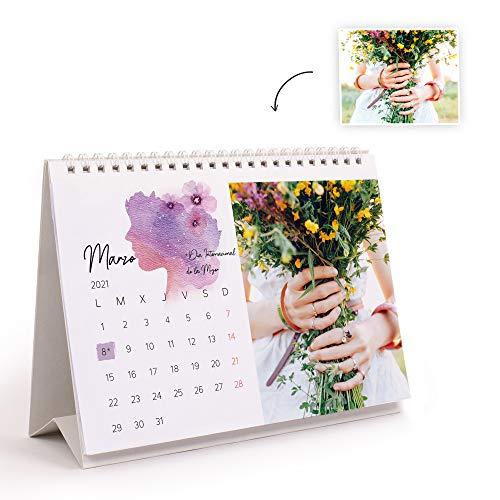 Fotoprix Calendario 2021 sobremesa personalizado con tus fotos | Varios Diseños y Tamaños Disponibles | Calendario diseño Acuarela | Tamaño: 21 x 15 cm