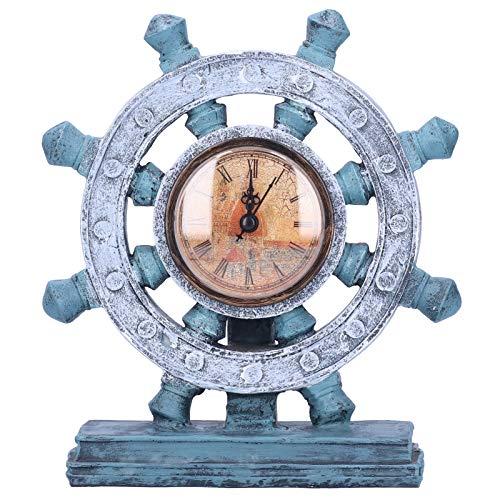 Presente DiferenteOrnamento de resina, relógio de leme portátil simples feito à mão para cafeteria Sala de estar Sala de trabalho Gabinete decorativo Sala de estudo Escritório Hotel(G155-1 leme azul)