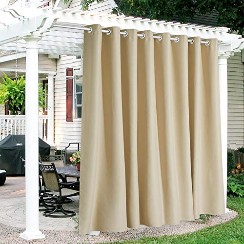 RYB HOME Patio Curtains Outdoor - Waterproof Heat UV Shade Thermal Insulated Vertical Blind for Porch Gazebo Canopy Pergola Garage Sun Room Decor, 120 Width x 108 inch Length, 1 Panel, Biscotti Beige
