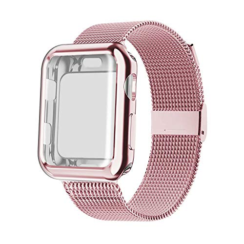 YC YANCH Compatible with Apple Watch Band 44mm with Case, Stainless Steel Mesh Loop Band with Apple Watch Screen Protector Compatible with iWatch Apple Watch Series 1/2/3/4/5 (44mm Rose Gold)